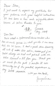 John Howardson Dance student thank you card